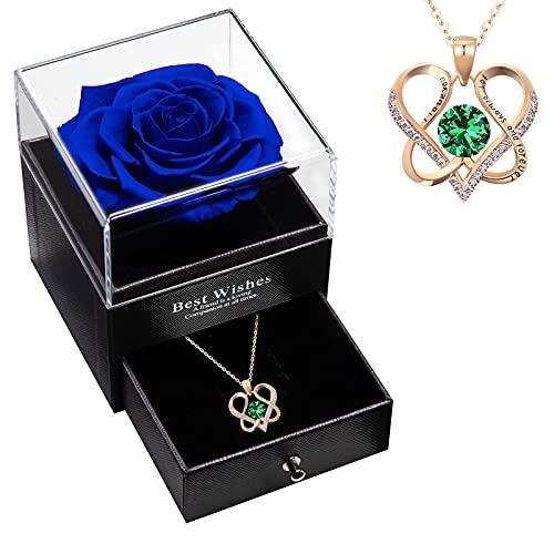 DYD Collar Colgante Corazon para Mujer, Collares Oro Rosa con Caja de Regalo Real Rose, Regalos para Mama
