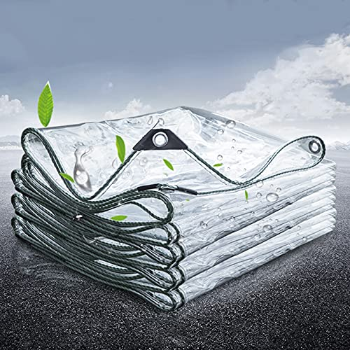 Plane Transparent Wasserdichte Abdeckplane 0.4mm PVC Kunststoffplane mit Ösen,Wetterfeste Plane für Terrasse,Pavillon, Terrassen,Strapazierfähige Vordächer...