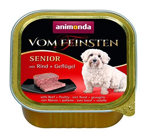 animonda Vom Feinsten Senior Hundefutter, Nassfutter für ältere Hunde ab 7 Jahren, mit Rind + Geflügel, 22 x 150 g