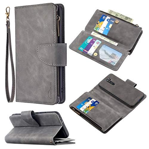 SZCINSEN Adecuado para Redmi 9 Wallet Case desmontable magnético 9 ranura para tarjeta dinero bolsillo embrague