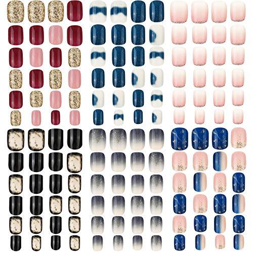 144 Piezas 6 Cajas Uñas Postizas Cuadradas Cortas Uñas Postizas de Color Degradado Uñas Postizas de Cubierta Completa Uñas Artificiales Lustroso de Prensa para Salón de Uñas (Patrón Clásico)