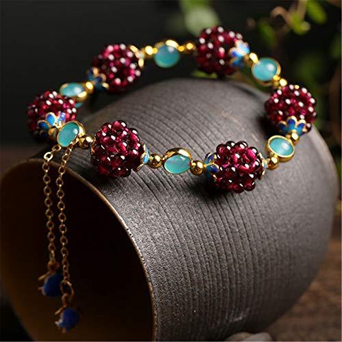 Feng Shui Reichtum Armband Granat Armband Amazonston Cloisonné Emaille Perlen handgemachte natürliche Edelstein Amulett Heilung Chakra Kristall Glücksbringer Schmuck Geschenk für Frauen/Mädchen