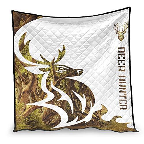 YshChemiy Deer Hunter - Colcha de algodón para interior (230 x 260 cm), color blanco