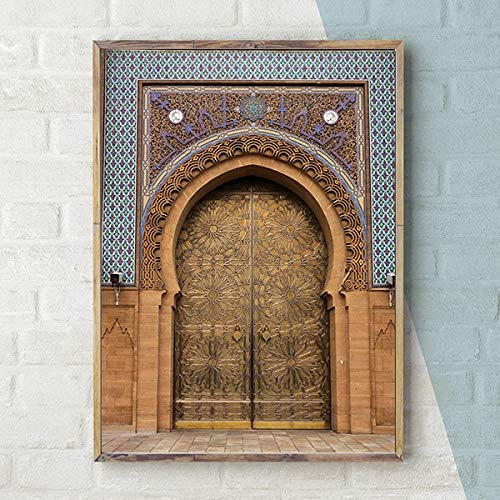baodanla Kein Rahmen Moderne Nordic marokko tür Vintage Poster weltberühmte Architektur Kunst Bild gedruckt Wohnzimmer leinwand und home60x90cm