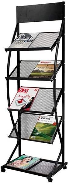 XYZX Shelves Bookshelf Type Newspaper Rack Floor Stand Frame Flyer Album Display Stand Five Layer Bevel With Brake Wheel