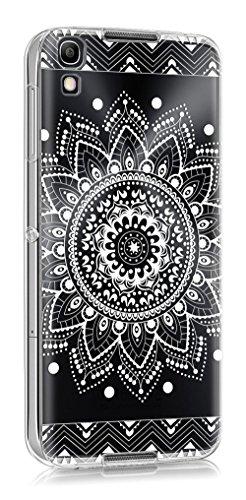 Sunrive Für Alcatel Idol 4 Hülle Silikon, Transparent Handyhülle Schutzhülle Etui Case Backcover für Alcatel Idol 4 5,2 Zoll(TPU Blume Weiße)+Gratis Universal Eingabestift
