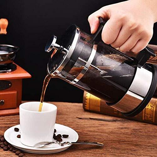 OKMIJN Cafetera, cafetera de Vidrio de Acero Inoxidable de Prensa Francesa, Tetera con Filtro para el hogar, Cocina, cafetería