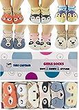 Baby Toddler Girls Grip Socks - Anti Slip 1 Year Old Girls Gift Cartoon 1-3 Yr Old Strap Non Skid...