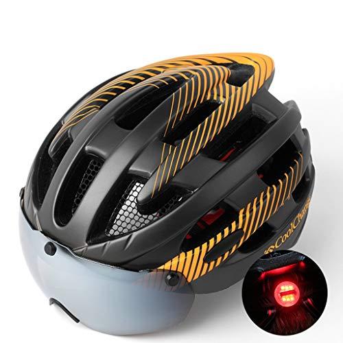 Fietshelm, mountainbikebril One heren en dames fietshelmen racefietsaccessoire voor fietsen met vergrote magneetbril met achterlicht met insectennet Oranje.