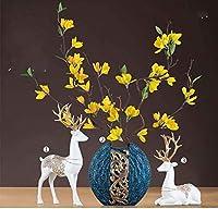 DYHD 樹脂の花瓶の装飾テーブルの手作りの装飾水耕植物花瓶のウェディングレストランシミュレーションフラワーアレンジメント偽の花3ピースセット21 * 20cm Jar(カラー:C) (Color : B)