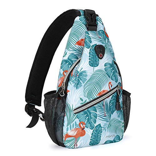 MOSISO Mini Sling Backpack,Small Hiking Daypack Pattern Travel Outdoor Sports Bag, Flamingo