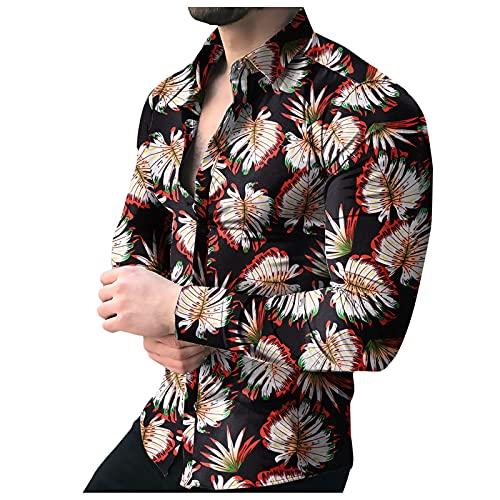 Xmiral Camicie Camicette Top T-Shirt Uomo Casual Stampa Camicia Manica Lunga Bottone Colletto rovesciato Top (XXL,13nero)