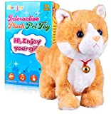 Yellow Robot Cat Plush Cat Stuffed Animal Interactive Cat Meow Kitten Touch Control, Electronic Cat Pet, Robotic Cat Cat Kitty Toy, Animated Toy Cats for Girls Baby Kids L:12