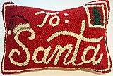 "Peking Handicraft Santa Claus North Pole Mail Mini Hooked Wool Pillow – 8"" x 12"""