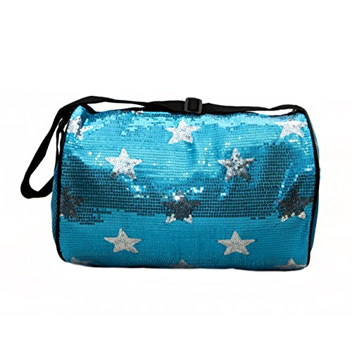 Private Label Nylon Dance Duffle Bag with Sequin Stars, Blue