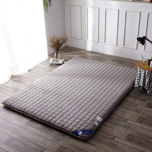 WZF Thickened, non-slip floor mattress Multifunction [Japanese style] Children's bed linen Crawling mat Twin Full Queen King-gray mattress cover 180x200cm (71x79inch)