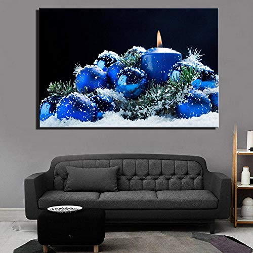 Canvas druk Moderne kaars in sneeuw wandafbeeldingen en posters blauwe kleurplaat landschap canvas foto's voor wooncultuur 60 cm x 90 cm