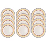 Bugatti COMBO-3354 Striped Side Small Plates, 22 cm, Multicolour, Set of 12