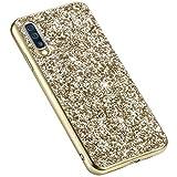 Uposao Glitter Coque pour Samsung Galaxy A70,Paillettes Strass Brillante Bling Glitter de Luxe,IMD Design Coque PC Rigide Back Cover + Cadre de Souple Silicone TPU Antichoc Robuste Coque,Or