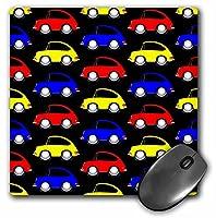 3drose LLC 8x 8x 0.25car-toon 911パターン、イエロー、ブルーと赤黒背景にマウスパッド(MP 81027_ 1)
