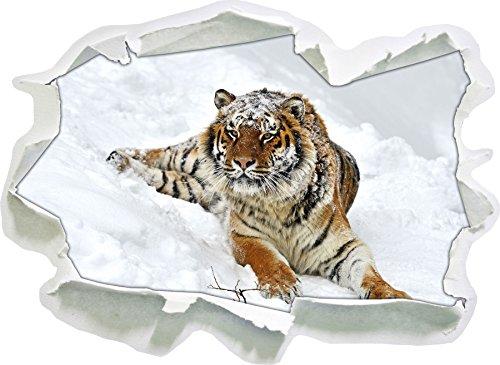 Tigre de l'amour dans la Taille d'autocollant de Neige, de Mur 3D de Papier: 92x67 cm décoration Murale 3D Stickers muraux Stickers