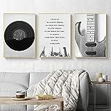 Nordische Leinwand Hauptdekoration Wandkunst weiß schwarz Retro-Gitarre und Musik-CD,Rahmenlose Malerei,30X45cmx3