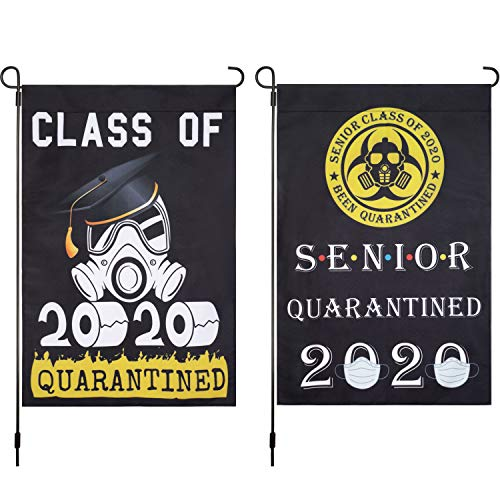 Boao 2 Pieces Senior 2020 Flag Class of 2020 Quarantined Flag Garden Toilet House Flag Double Sided Outdoor Yard Flag Decoration, 18 x 12 Inch