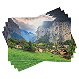 Ambesonne European Place Mats Set of 4, Green Fields Touristic Town Lauterbrunnen Bernese Oberland Switzerland Europe, Washable Fabric Placemats for Dining Room Kitchen Table Decor, Green Grey