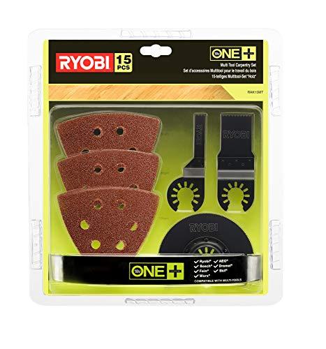 Ryobi Holz-Set für Multitool 15-tlg. RAK15MT (Multitool Zubehör-Set für Holzbearbeitung, für Multitool RMT1801M,inkl.Holz-Tauchsägenblätter und Schleifpapier) 5132002809