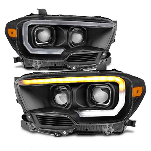 For NEW Sequential LED Tube Design Black 2016 2017 2018 2019 2020 2021 Toyota Tacoma SR/SR5 Dual Square Projector Headlights