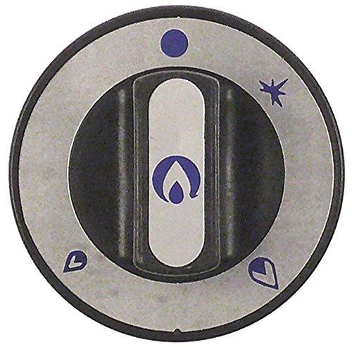 Repagas Mordaza para grifo de gas, aplanamiento del eje derecho, diámetro 10 x 8 mm, con llama de encendido, diámetro 76 mm, símbolo grifo de gas con llama de encendido
