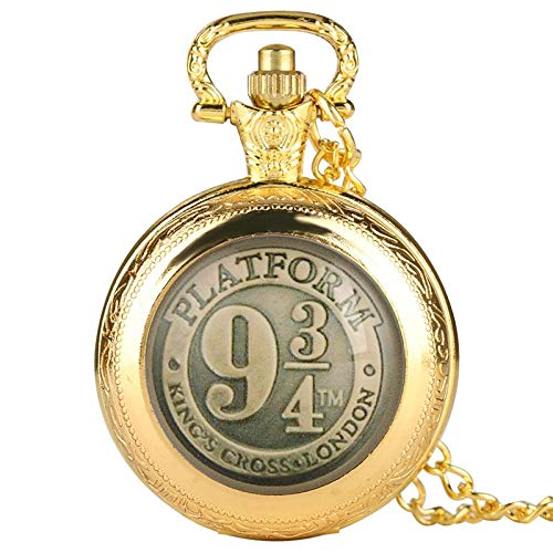 LEYUANA Reloj de Bolsillo de Cuarzo Negro/Bronce/Oro/Plata, Collar Cadena Reloj Colgante Arte coleccionables Oro
