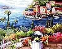 数字で描くキットDIY油絵キット大人のためのキャンバス絵画子供初心者シーサイドハウスビューフレームレス40x50cm