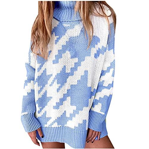 Sudadera para mujer, informal, vintage, de punto, estilo chino, elegante, para otoño e invierno, holgada, cálida, azul, XL