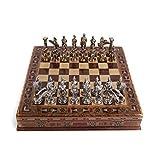 GiftHome - Juego de ajedrez de metal mitológico para adultos, piezas hechas a mano y tablero de ajedrez de madera maciza natural con almacenamiento interior King 3,35 pulgadas