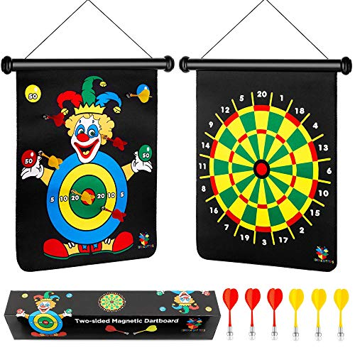 Magnetic Dart Board for Boys, Darts Game Set 6 Safe Magnetic Darts and 2-Sided Target Games in Gift Box, Holiday or Birthday Gifts for Boys & Girls Toys, Toys for 5 Year Old Boy