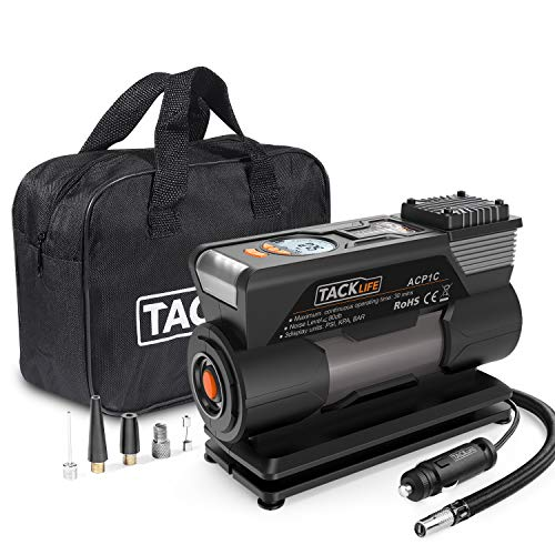 TACKLIFE ACP1C Portable Tyre Inflator, DC 12V 150PSI Air Compressor Pump,...