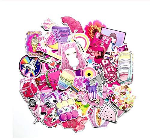 62 Stuks Schattig Roze Meisje Serie Sticker Graffiti Coole Stickers Voor Kinderen Sticker Op Laptop Koffer