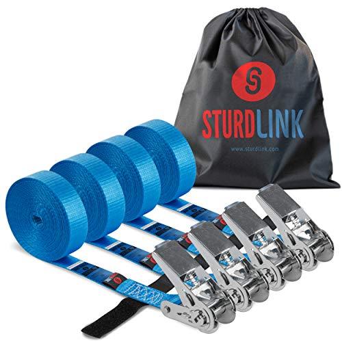 Sturdlink – Juego de 4 Correas de Amarre con trinquete de 5 m sin Gancho, Ancho 25 mm, LC 800daN con Sistema de sujeción. para sujeción, Transporte, desmontaje, Remolque, Barra de Techo para Coche