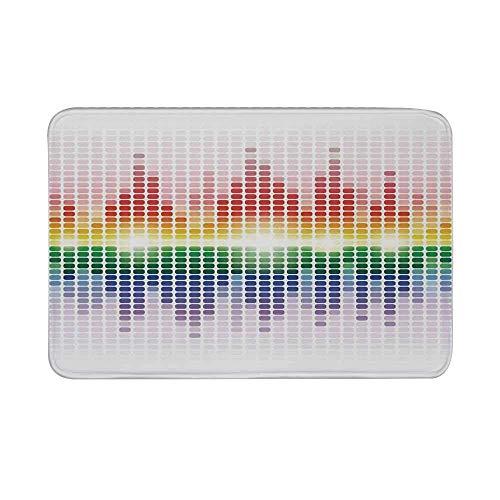 Kinhevao Alfombrilla Antideslizante para decoración de música, Ecualizador Digital Rainbow Amplificador Equipo de grabación Alfombrilla Club para baño Sala de Estar