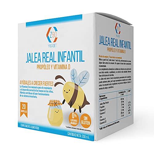 Jalea real para Niños – Jalea Real con propóleo Infantil –vitamina C – Vitamina D3 – Zinc y Minerales - Aumenta Tus defensas – Más Energía y Vitalidad – 20 viales