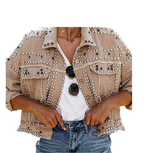 LJLLINGB Giacca di Jeans con Rivetti BorchiatiGiacche Larghe da Donna Borchie Giacca di Jeans di Alta qualità da Donna Cappotti di Jeans da Donna Streetwear