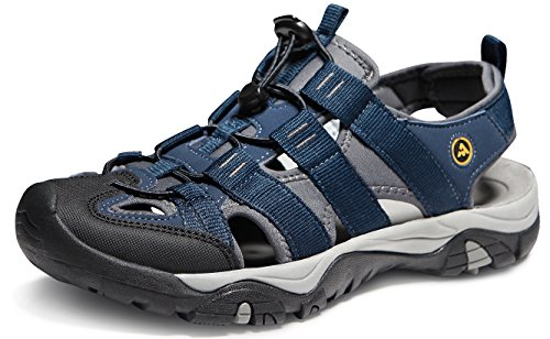 ATIKA Men's Outdoor Hiking Sandals, Closed Toe Athletic Sport Sandals, Lightweight Trail Walking Sandals, Summer Water Shoes, All Terrain Orbital(m107) - Navy, 9