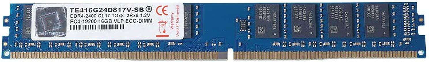V-Color 16GB (1 x 16GB) Dual Rank Server Memory Ram Module Upgrade DDR4 2400MHz (PC4-19200) VLP ECC DIMM 1.2V CL17 2Rx8 (TE416G24D817V-SB)