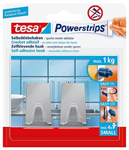 tesa Powerstrips Haken Small Metall ECKIG - Selbstklebender Wandhaken für Glas, Kacheln, Holz, Kunststoff und andere Untergründe - Metall