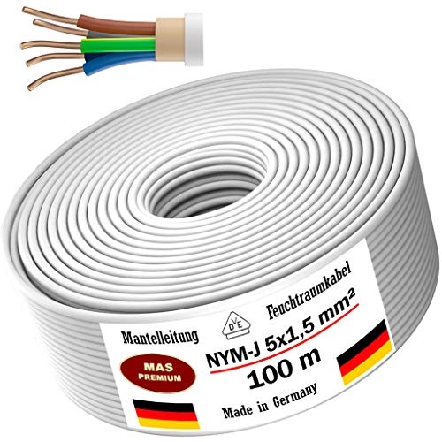 Feuchtraumkabel Stromkabel 5, 10, 15, 20, 25, 30, 35, 40, 50, 75, 80, oder 100m Mantelleitung NYM-J 5x1,5 mm² Elektrokabel Ring für feste Verlegung (100m)