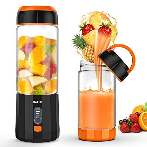 Smoothie Blender, LOZAYI Portable Personal Blender Travel USB Rechargeable Juicer Cup for Shakes and Smoothies, Cordless Single Serve Fruit Mixer Mini Blender with Led Displayer for Outdoor Travel Home Office Gym