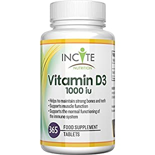 Vitamin D 3 365 Micro Tablets (1 years supply) 1000IU Vitamin D3 Supplement, High Absorption Cholecalciferol Vit D 3 | Vitamin D3 Mini Tablets Easier to Swallow than Vitamin D Softgels by Incite Nutrition:Eventmanager