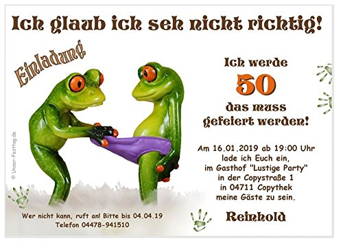 Einladungskarten zum Geburtstag Erwachsene, Mann Frau - für jedes Alter Wunschalter 30 40 50, 10 Karten DIN A6