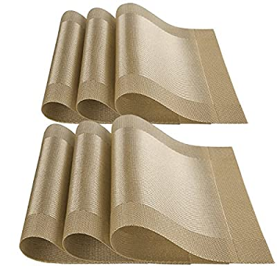 YOY Set of 8 Kitchen PVC Placemats - Fahion Dining Room Table Eat Mats for Kids Rectangle Washable Decor Jacquard Woven Plastic Vinyl Simple Style Place Mats